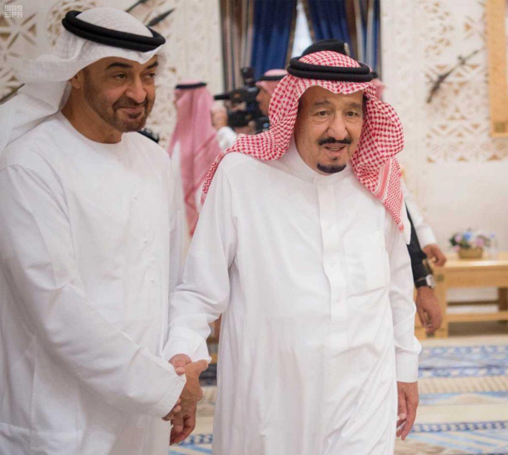 بالصور.. خادم الحرمين يستقبل الشيخ محمد بن زايد ويقيم مأدبة غداء تكريماً له