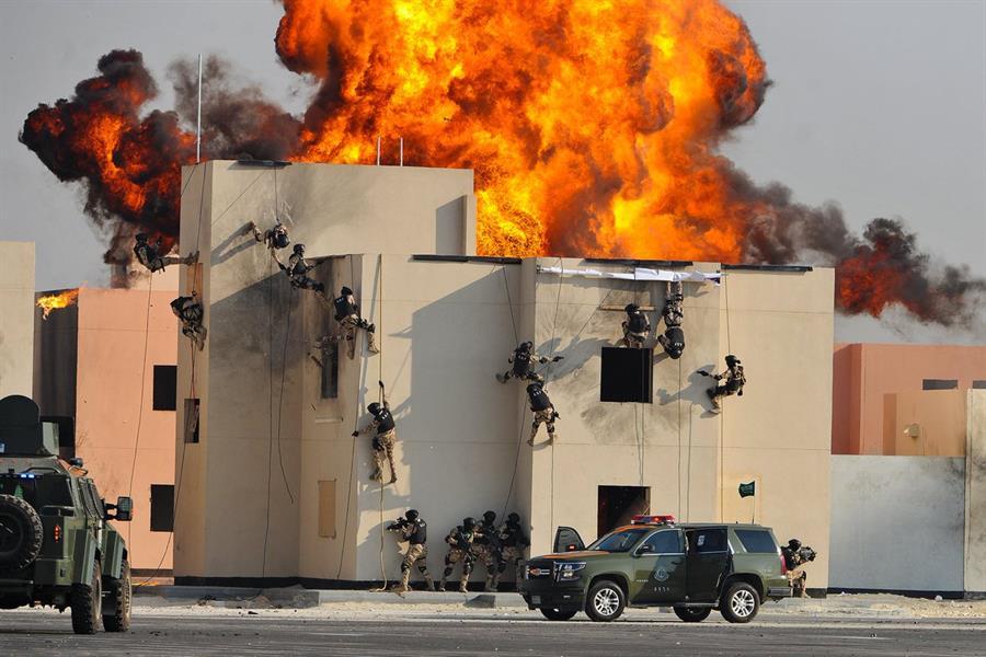"""بالصور.. مناورات خطرة وانفجارات ومدرعات وأسلحة ثقيلة في اختتام تمرين """"أمن الخليج"""""""