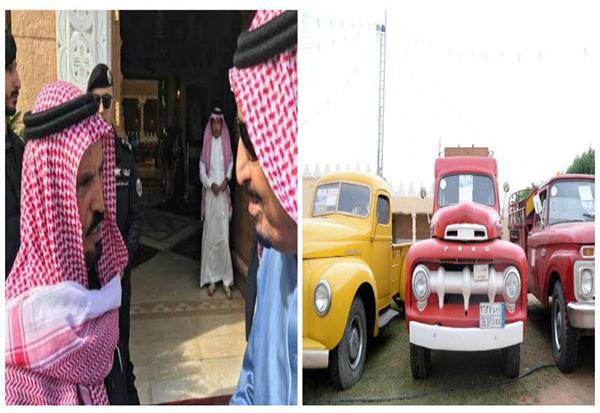 صور: مواطن يهدي خادم الحرمين سيارة تاريخية