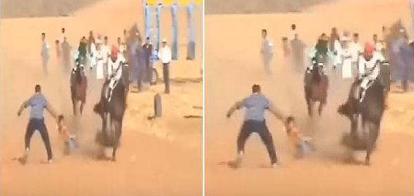 شاهد: كيف انقذ مواطن طفلا من أمام حصان في سباق للخيول بالجوف