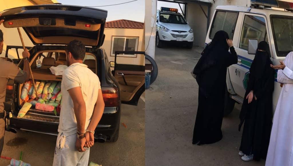 بالصور: القبض على يمني برفقته فتاتين بحوزتهم كمية من القات داخل سيارة بورش