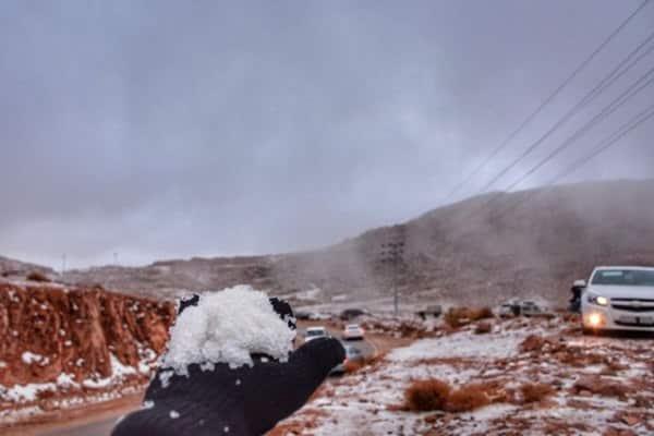 """بالصور.. أهالي تبوك يهرعون لملاقاة """"الثلوج """""""