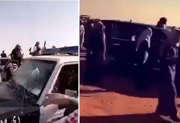 شاهد: فوضى واعتداء على مركبات رجال الأمن بمهرجان مزاين الإبل