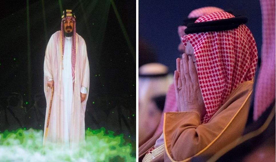 شاهد.. تأثر الملك سلمان بمشهد تجسيد شخصية المؤسس.. وهذه هوية الممثل