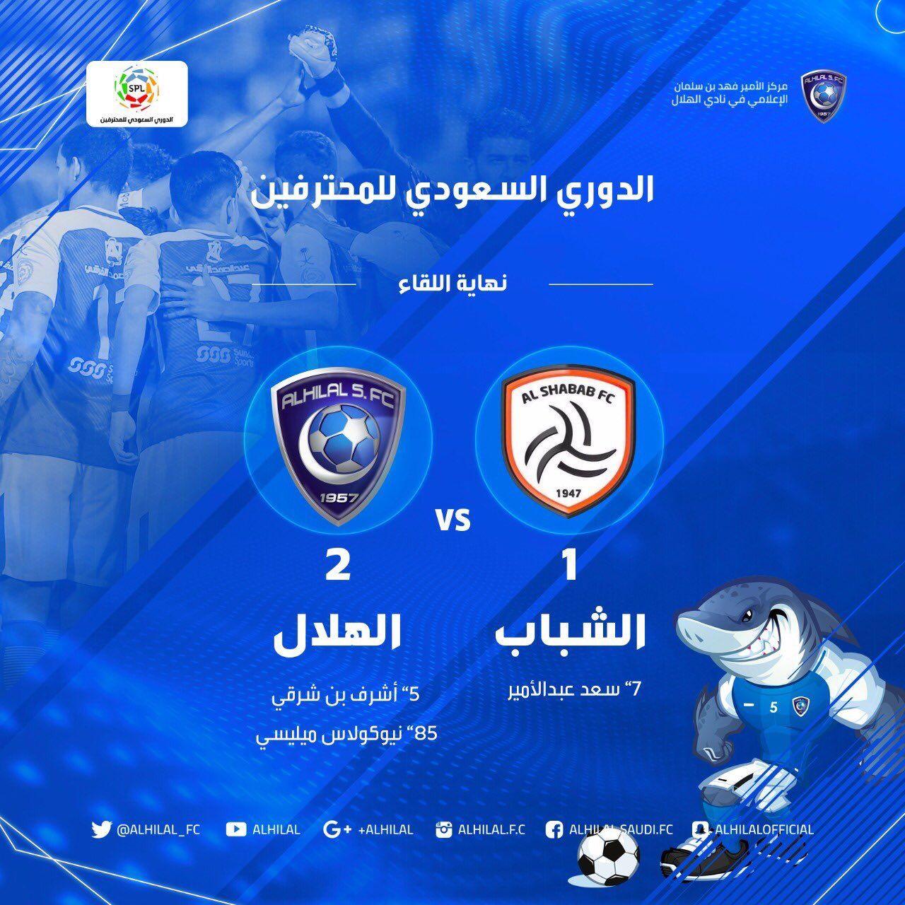 شاهد فيديو ملخص واهداف مباراة الهلال و الشباب 2-1 الدوري السعودي