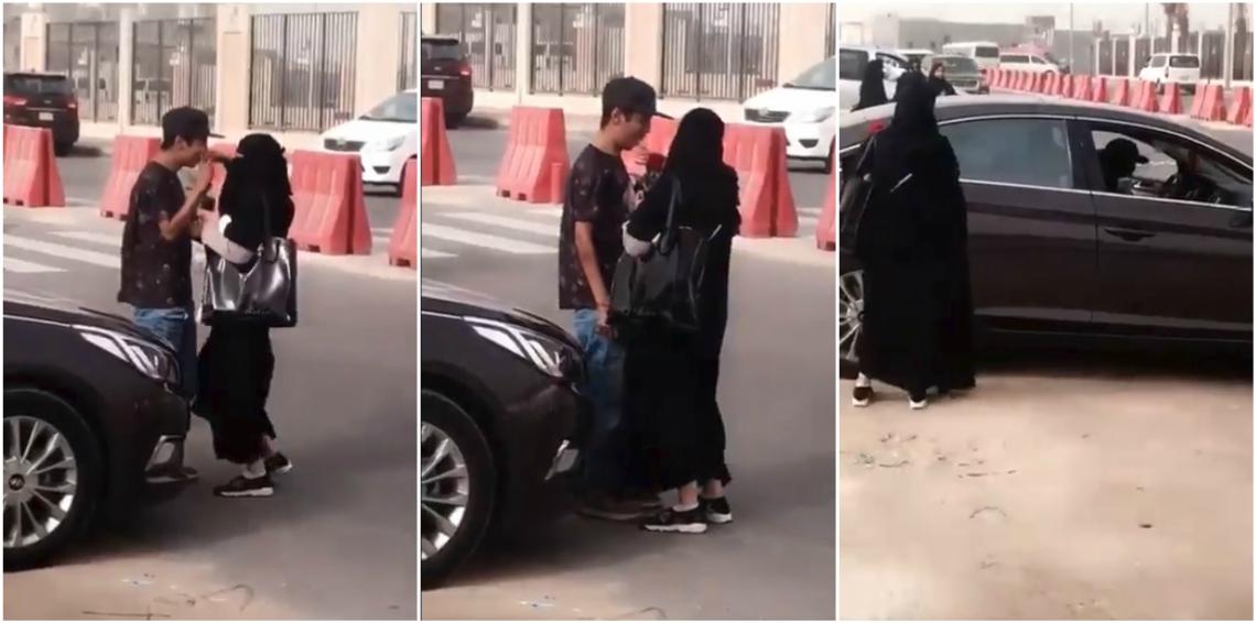 حقيقة فيديو فتاة تحتضن السائق وسط شارع عام.. ومغردون يكشفون حقيقته