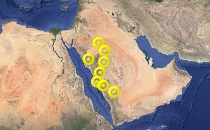 """8 مناطق تدخل خريطة تنبيهات """"الإنذار المبكّر"""""""