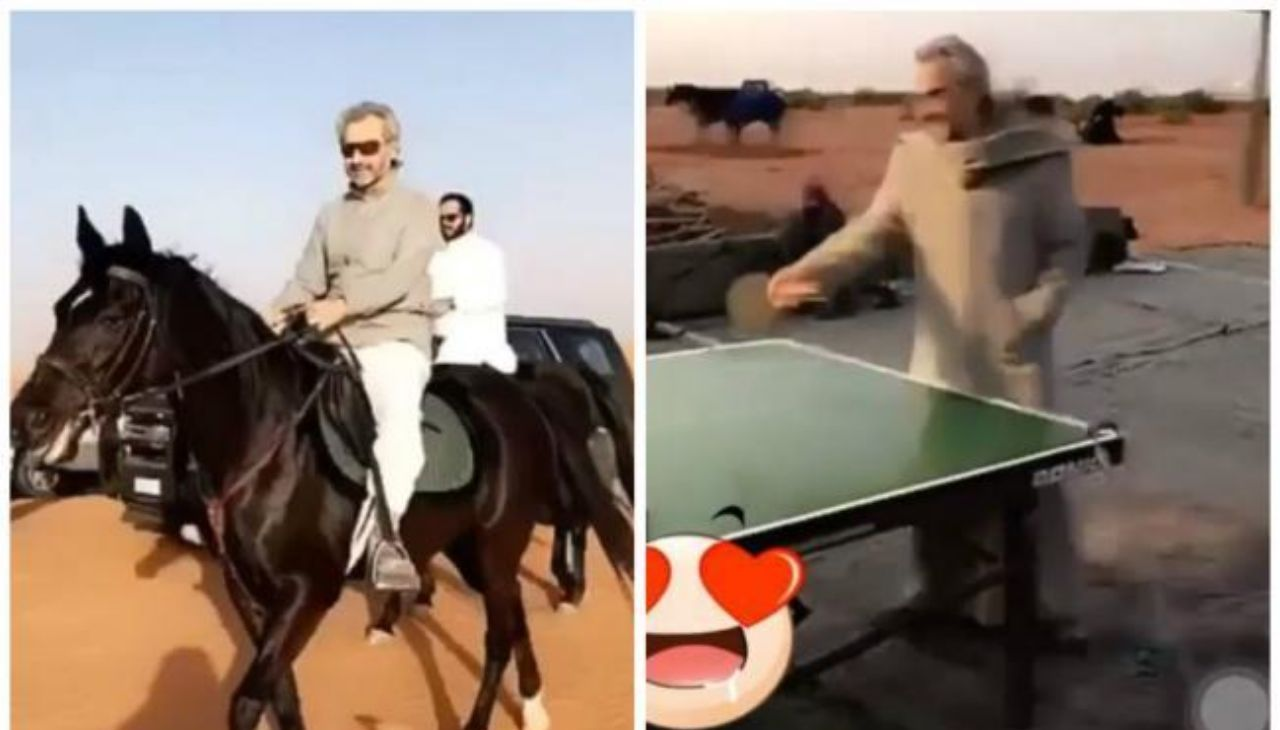 شاهد .. الوليد بن طلال يمارس رياضة ركوب الخيل في مخيمه برماح