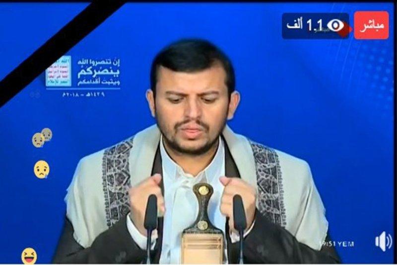 """""""عبدالملك الحوثي"""" يظهر حزيناً ومنكسراً في كلمة تلفزيونية بعد مقتل """"الصماد"""""""