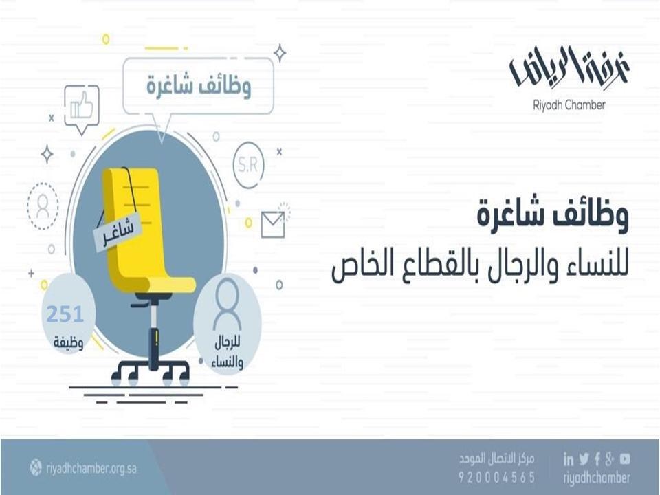 غرفة الرياض تطرح 251 وظيفة للجنسين بالقطاع الخاص