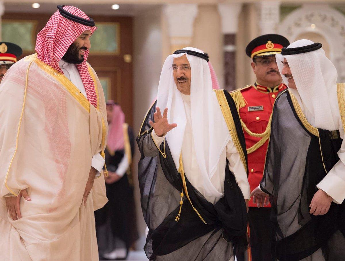 صور تعكس لقاء المحبة بين أمير الكويت وولي العهد في قصر بيان