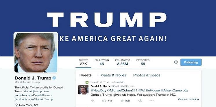 "ترامب يهاجم ""تويتر"" ويتهمها بحذف متابعين من حسابه"