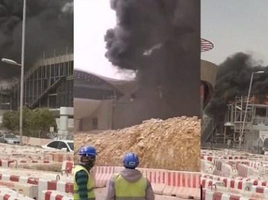 بالفيديو.. الدفاع المدني يخمد حريقا بإحدى محطات قطار الرياض