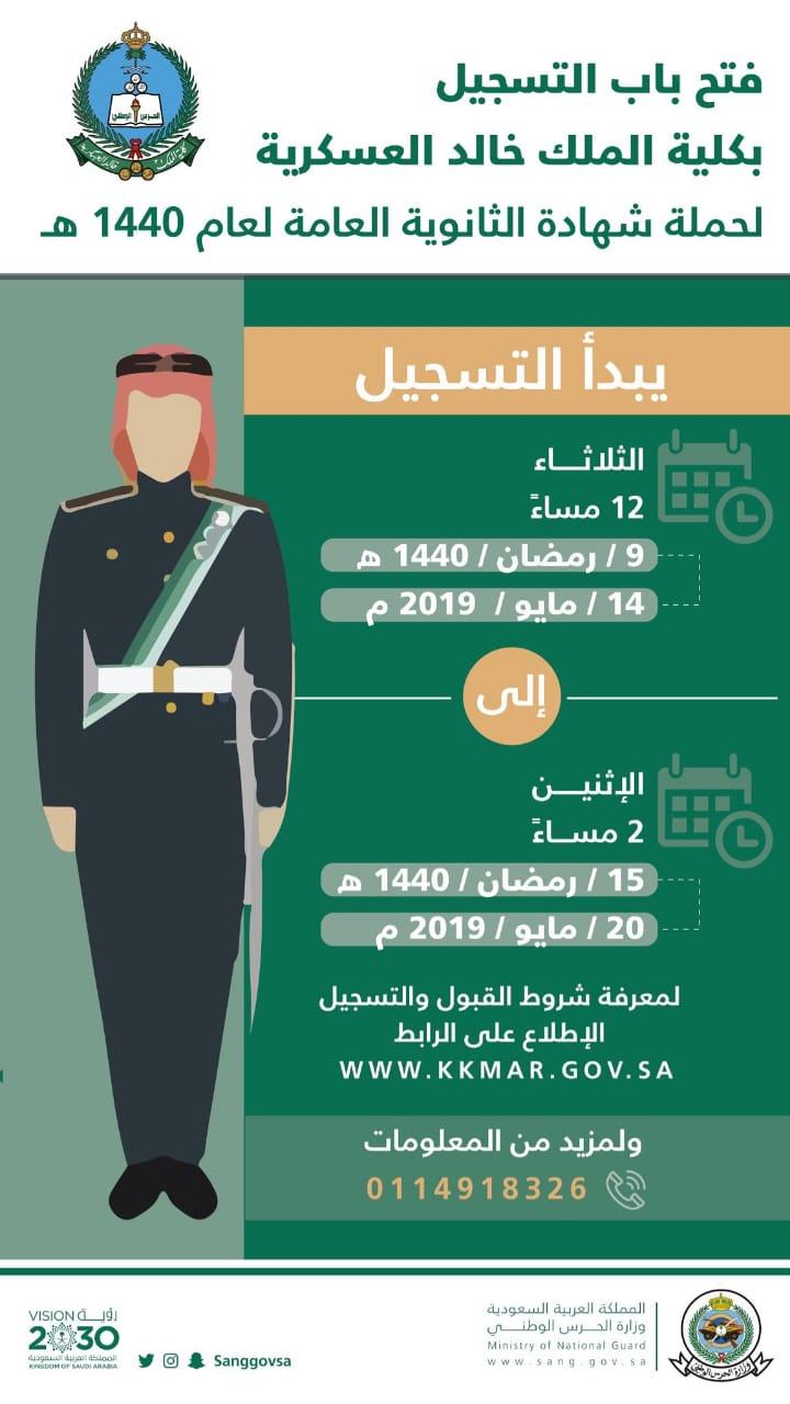كلية الملك خالد العسكرية تفتح باب التسجيل لحملة الثانوية العامة