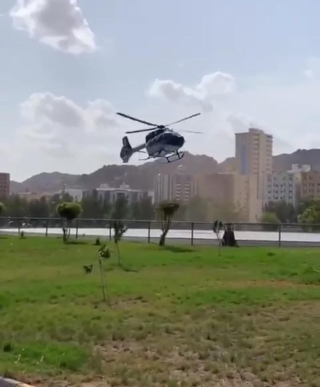 شاهد كيف تم اخلاء حاج (إيراني)  بطائرة خاصة من المشاعر لتعرضه لأزمة قلبيه