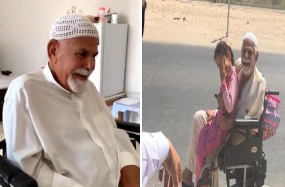 ببساطة مؤثرة.. فيديو يوثق انفعال العم محمود وهو يشاهد تقريرا تليفزيونيا عن قصة نقله لابنته على كرسيه المتحرك