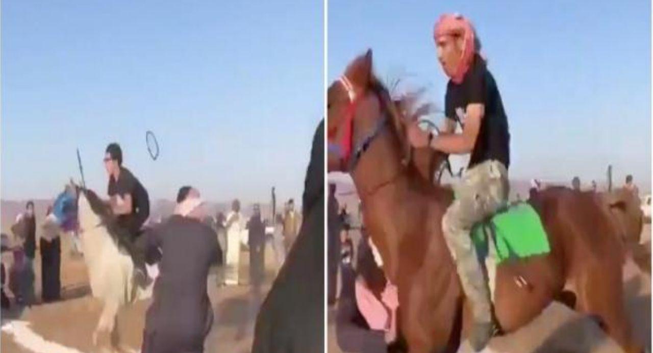 شاهد .. حصان مسرع يصطدم بـ《شاب 》 في #حائل !