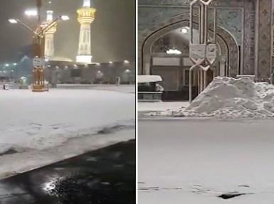 شاهد.. حقيقة فيديو تغطية الثلوج للحرم النبوي