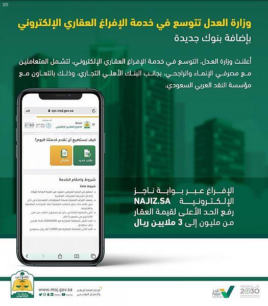 """وزارة العدل تتوسع في """"الإفراغ العقاري الإلكتروني"""" بإتاحة الخدمة عبر بنوك إضافية"""
