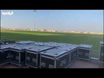 """جانب من تحضيرات """"الطائي"""" لحفل صعود فريقه لدوري كأس محمد بن سلمان للمحترفين"""
